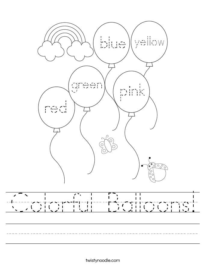 Colorful Balloons! Worksheet