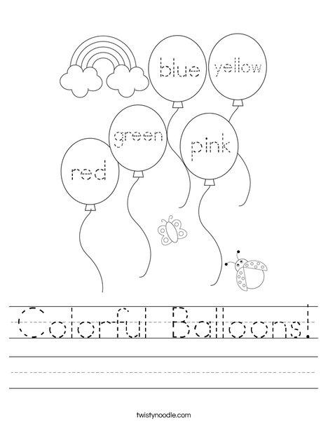 Color the balloons. Worksheet