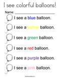I see colorful balloons! Coloring Page