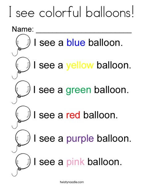 I see colorful balloons Coloring Page