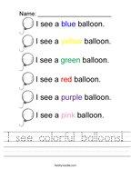 I see colorful balloons Handwriting Sheet