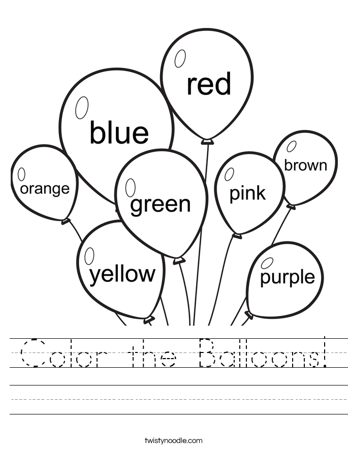 Color Worksheets: Color the Balloons Worksheet   Twisty Noodle,
