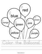 Color the Balloons Handwriting Sheet