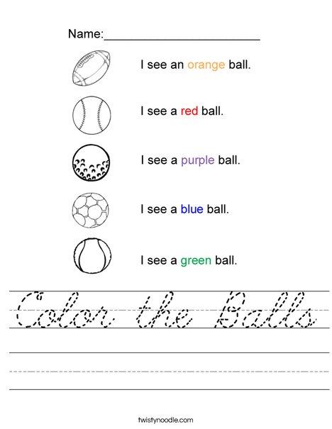 Color the Balls Worksheet