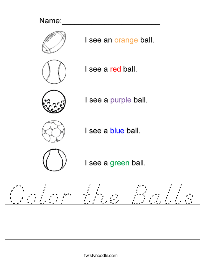 Color the Balls Worksheet