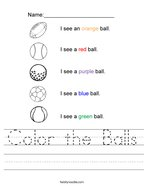 Color the Balls Handwriting Sheet