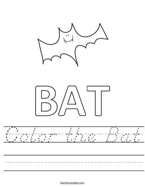 Color the Bat Worksheet