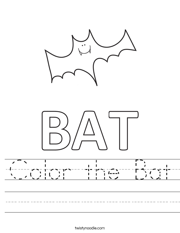 Color the Bat Worksheet