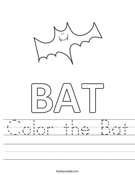 Color the Bat Worksheet - Twisty Noodle