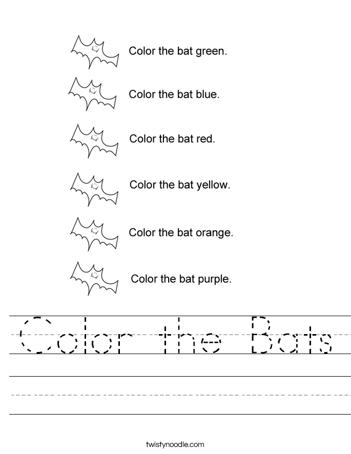 Color the Bats Worksheet