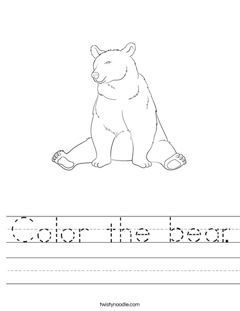 Color the bear. Worksheet