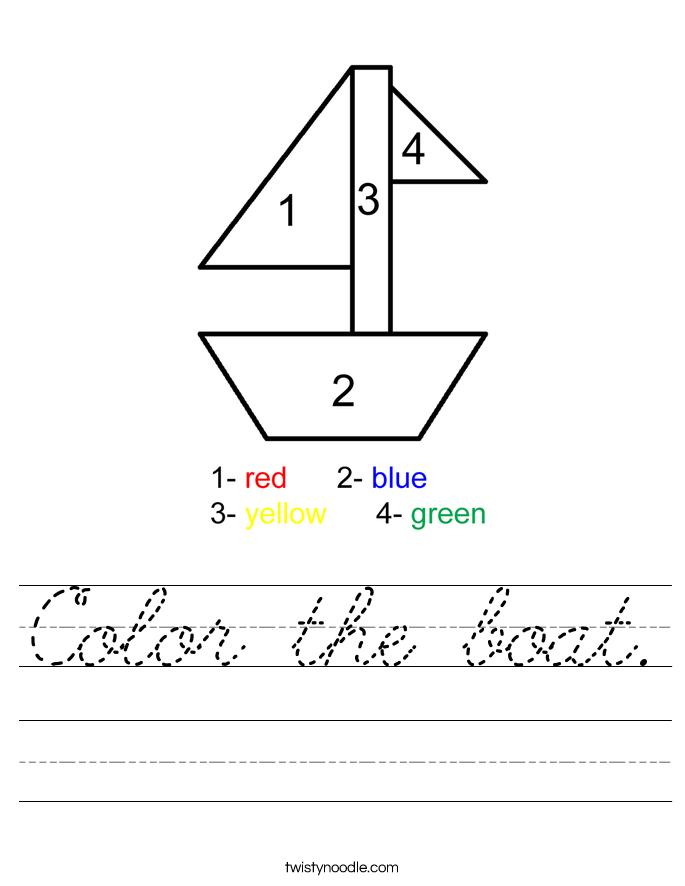 Color the boat Worksheet - Cursive - Twisty Noodle