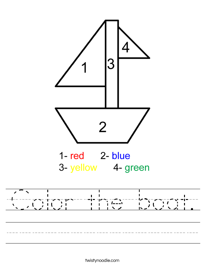 Color the boat. Worksheet