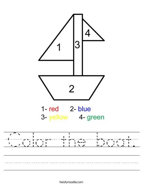 Color the boat. Worksheet