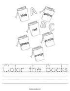 Color the Books Handwriting Sheet