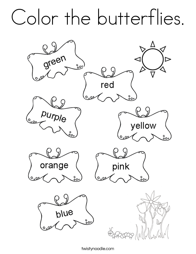 Color the butterflies. Coloring Page