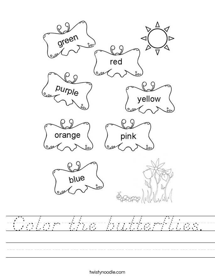 Color the butterflies. Worksheet