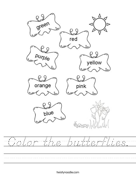 Color the butterflies the correct color. Worksheet