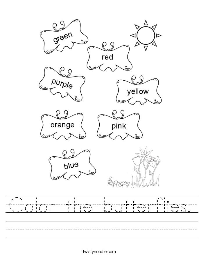 Color the butterflies. Worksheet