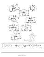 Color the butterflies Handwriting Sheet