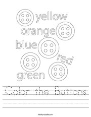 Color the Buttons Handwriting Sheet