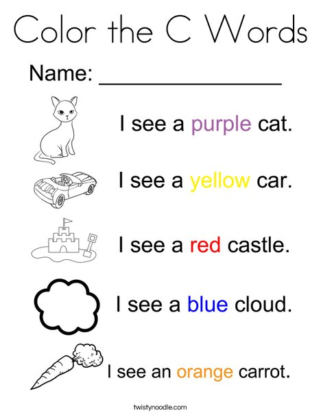 Color the C Words Coloring Page