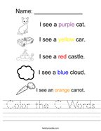 Color the C Words Handwriting Sheet