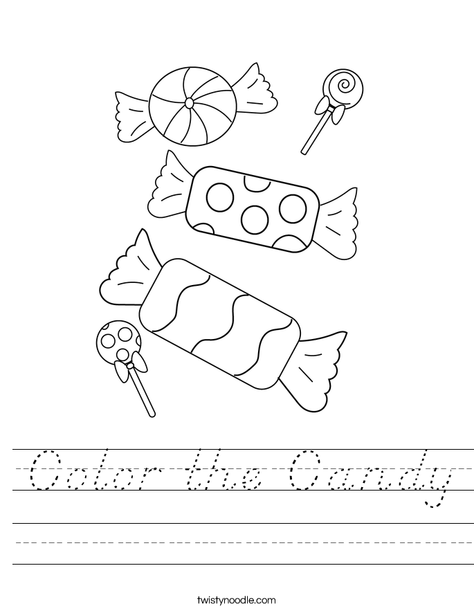 Color the Candy Worksheet