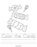 Color the Candy Handwriting Sheet