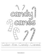 Color the Candy Canes Handwriting Sheet