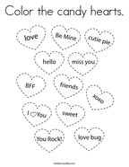 Color the candy hearts Coloring Page