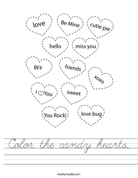 Color the candy hearts. Worksheet