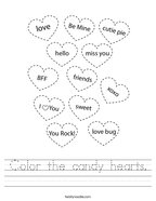 Color the candy hearts Handwriting Sheet
