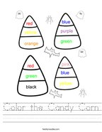 Color the Candy Corn Handwriting Sheet