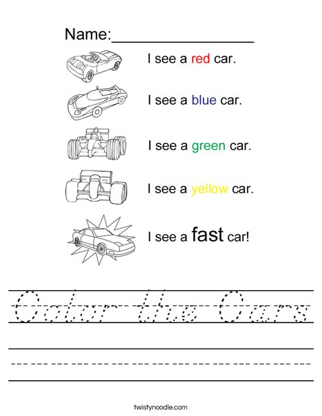 Color the Cars Worksheet