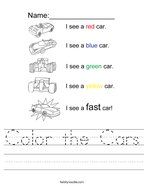 Color the Cars Handwriting Sheet