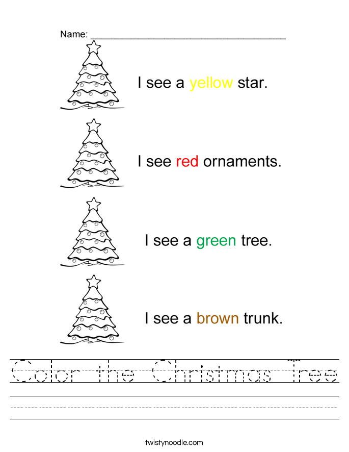 Color the Christmas Tree Worksheet - Twisty Noodle