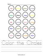 Color the Circles Handwriting Sheet
