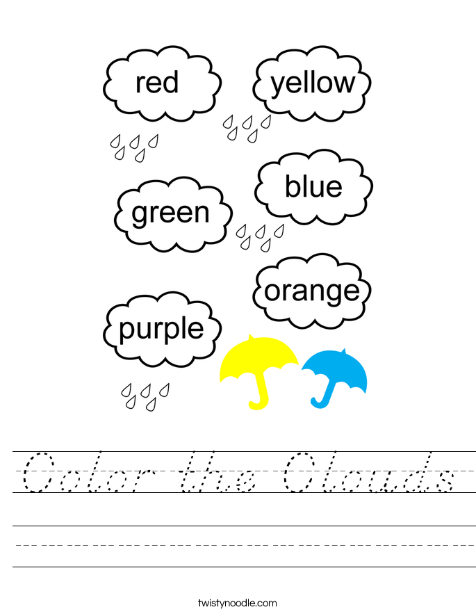 Color the Clouds Worksheet
