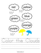 Color the Clouds Handwriting Sheet