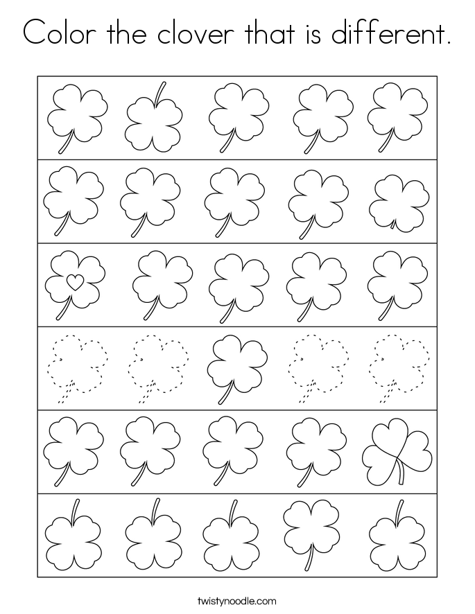 Color the clover that is different. Coloring Page