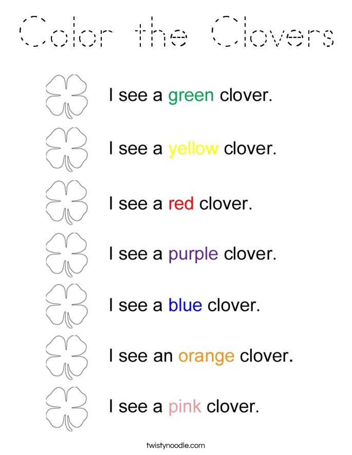 Color the Clovers Coloring Page