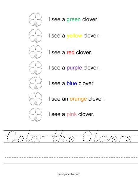 Color the Clovers Worksheet