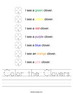 Color the Clovers Handwriting Sheet