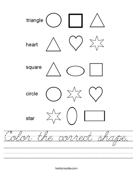 Color the correct shape. Worksheet