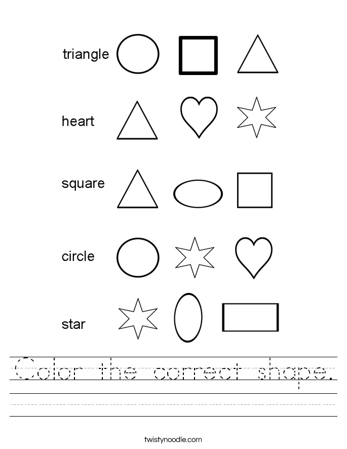 Color the correct shape Worksheet - Twisty Noodle
