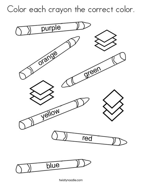 Color each crayon the correct color. Coloring Page