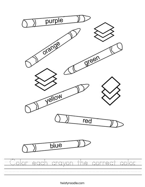 Color each crayon the correct color. Worksheet