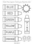 Color the crayons Circle your favorite color Coloring Page