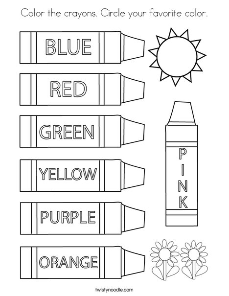 Color the crayons. Circle your favorite color. Coloring Page
